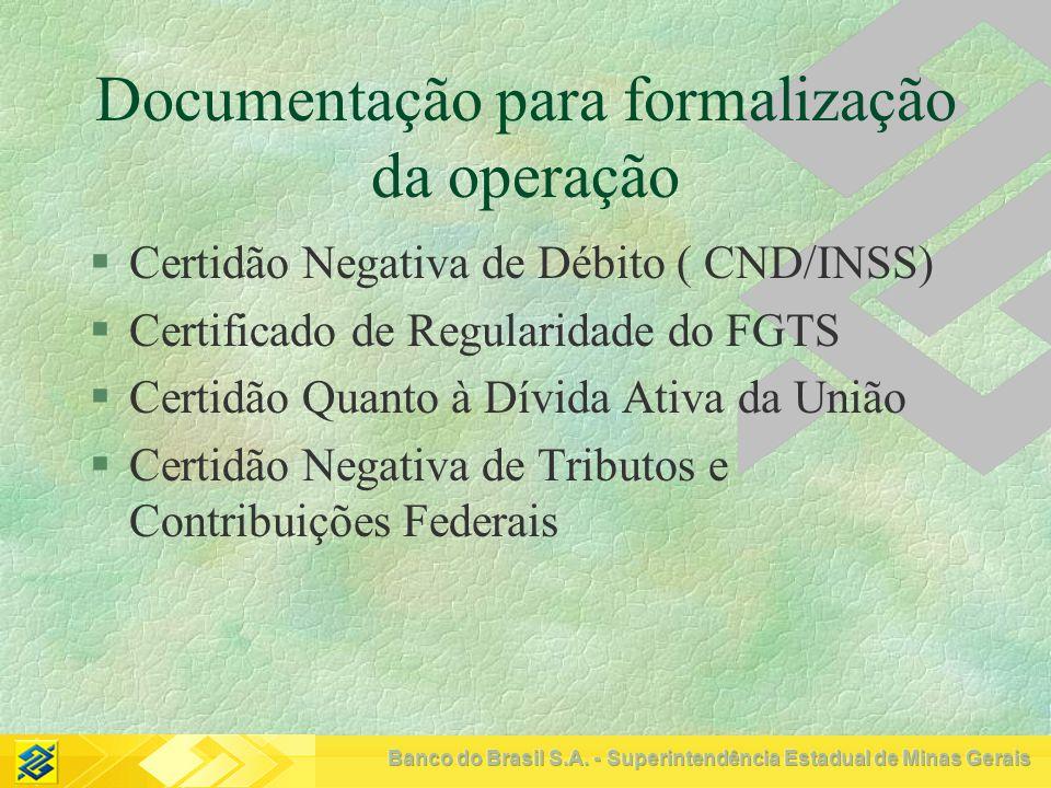 Documentação para formalização da operação