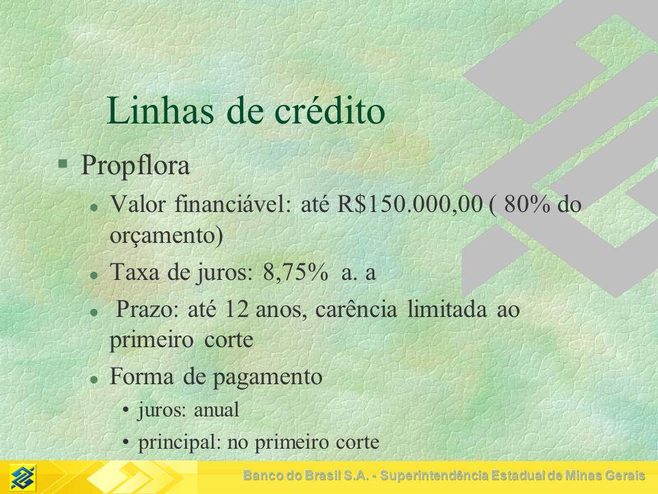 Linhas de crédito Propflora