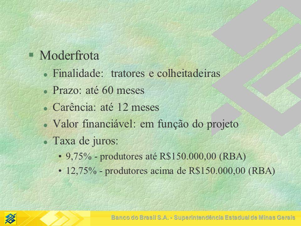 Moderfrota Finalidade: tratores e colheitadeiras Prazo: até 60 meses