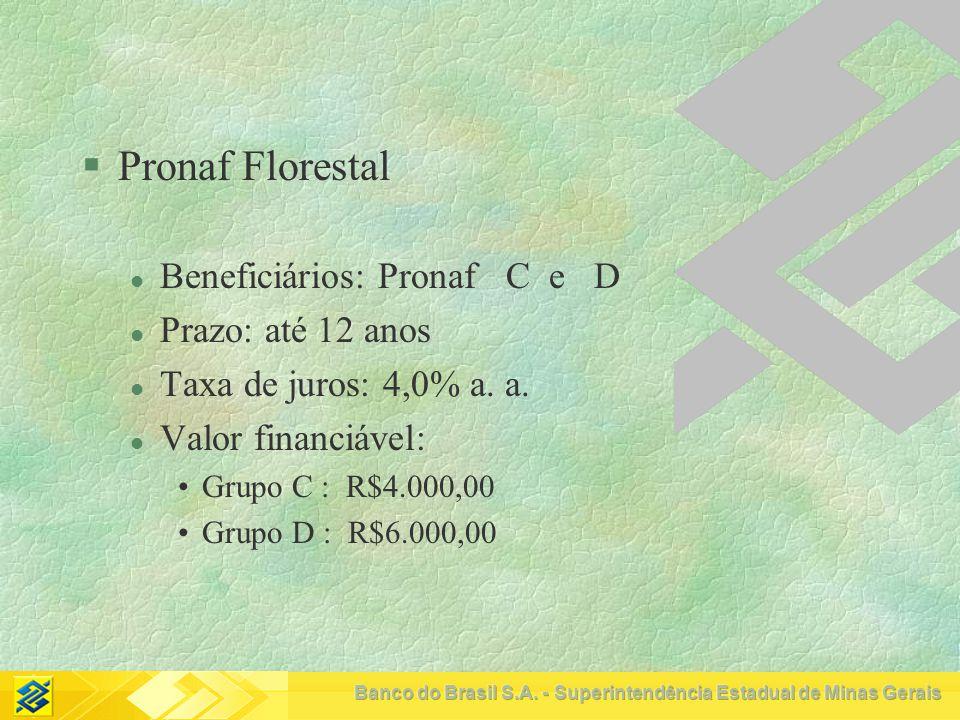 Pronaf Florestal Beneficiários: Pronaf C e D Prazo: até 12 anos