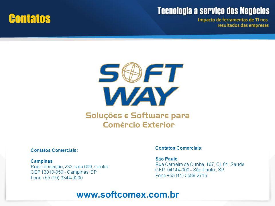 Contatos www.softcomex.com.br Contatos Comerciais: