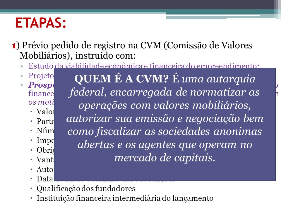 ETAPAS: 1) Prévio pedido de registro na CVM (Comissão de Valores Mobiliários), instruído com: