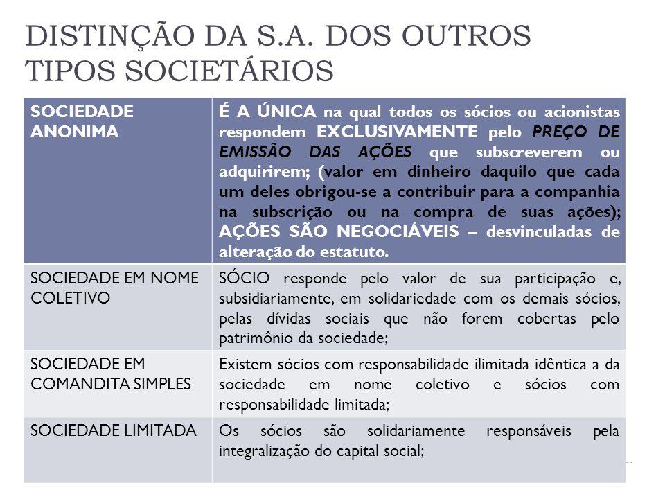 DISTINÇÃO DA S.A. DOS OUTROS TIPOS SOCIETÁRIOS
