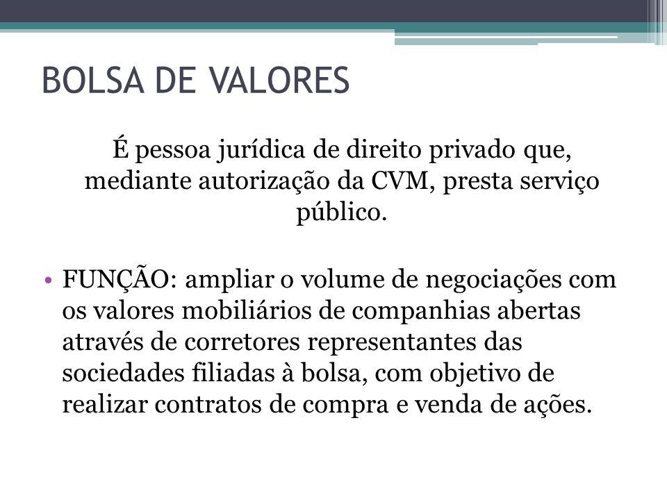 BOLSA DE VALORES É pessoa jurídica de direito privado que, mediante autorização da CVM, presta serviço público.