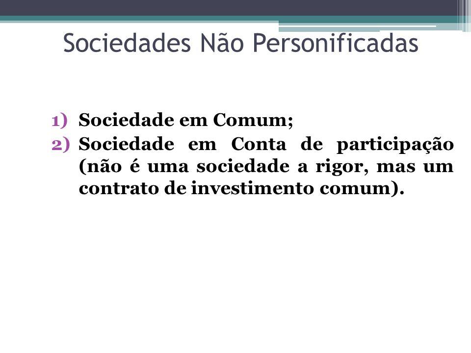 Sociedades Não Personificadas
