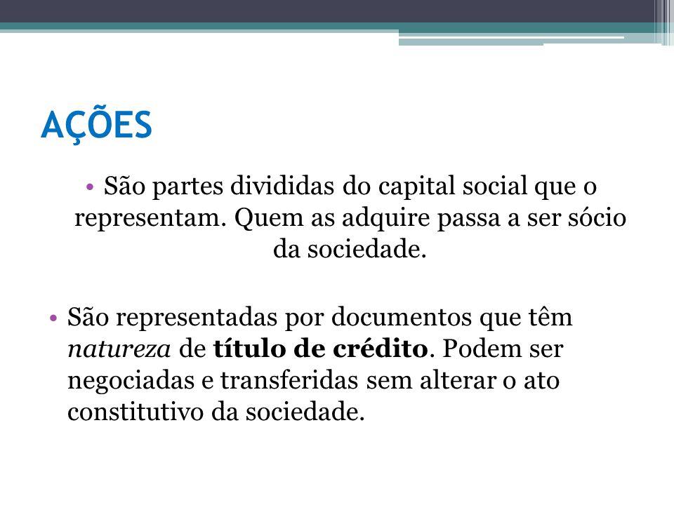 AÇÕES São partes divididas do capital social que o representam. Quem as adquire passa a ser sócio da sociedade.