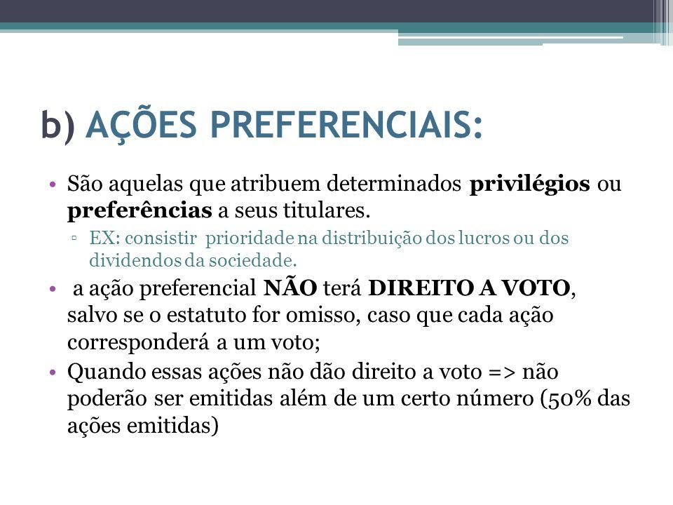b) AÇÕES PREFERENCIAIS: