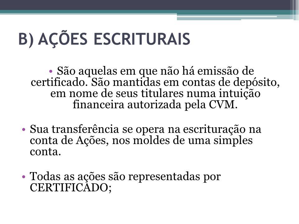 B) AÇÕES ESCRITURAIS