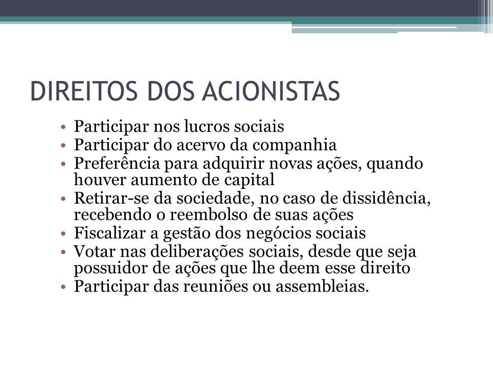DIREITOS DOS ACIONISTAS
