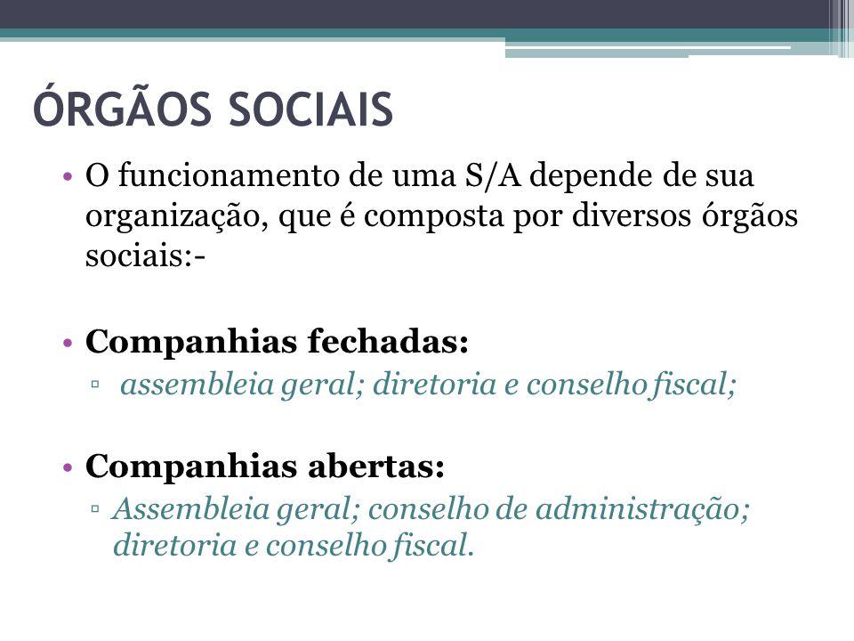 ÓRGÃOS SOCIAIS O funcionamento de uma S/A depende de sua organização, que é composta por diversos órgãos sociais:-