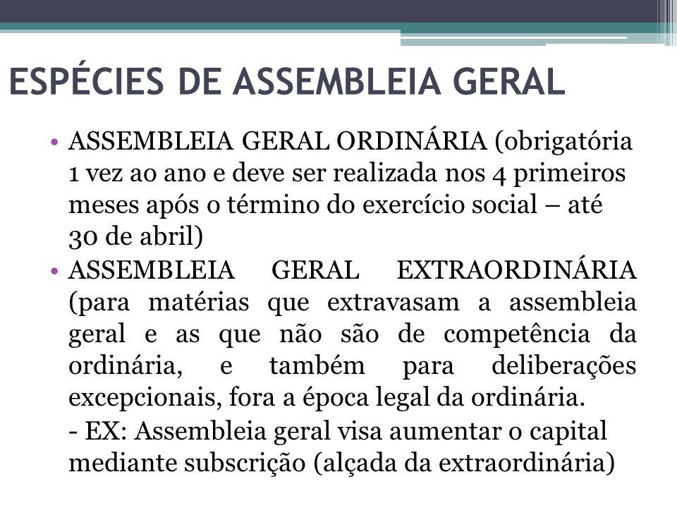 ESPÉCIES DE ASSEMBLEIA GERAL