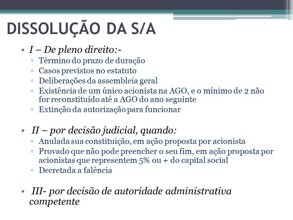 DISSOLUÇÃO DA S/A I – De pleno direito:-