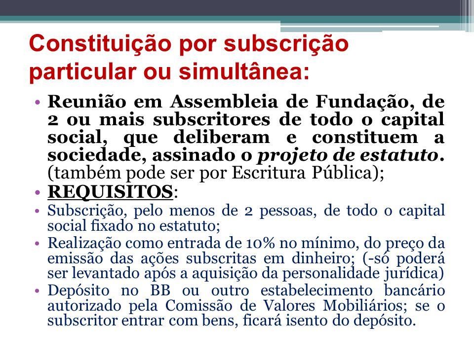 Constituição por subscrição particular ou simultânea: