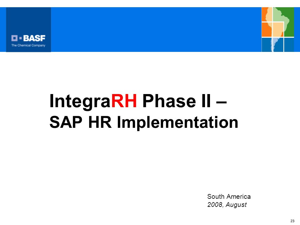 IntegraRH Phase II – SAP HR Implementation