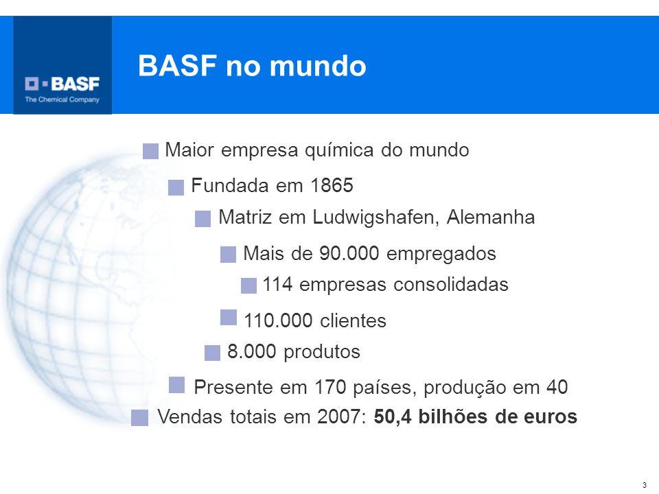 BASF no mundo Maior empresa química do mundo Fundada em 1865