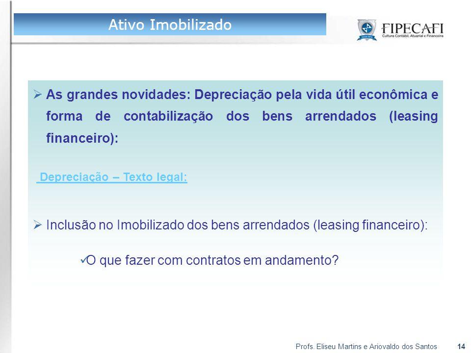 Ativo Imobilizado As grandes novidades: Depreciação pela vida útil econômica e forma de contabilização dos bens arrendados (leasing financeiro):