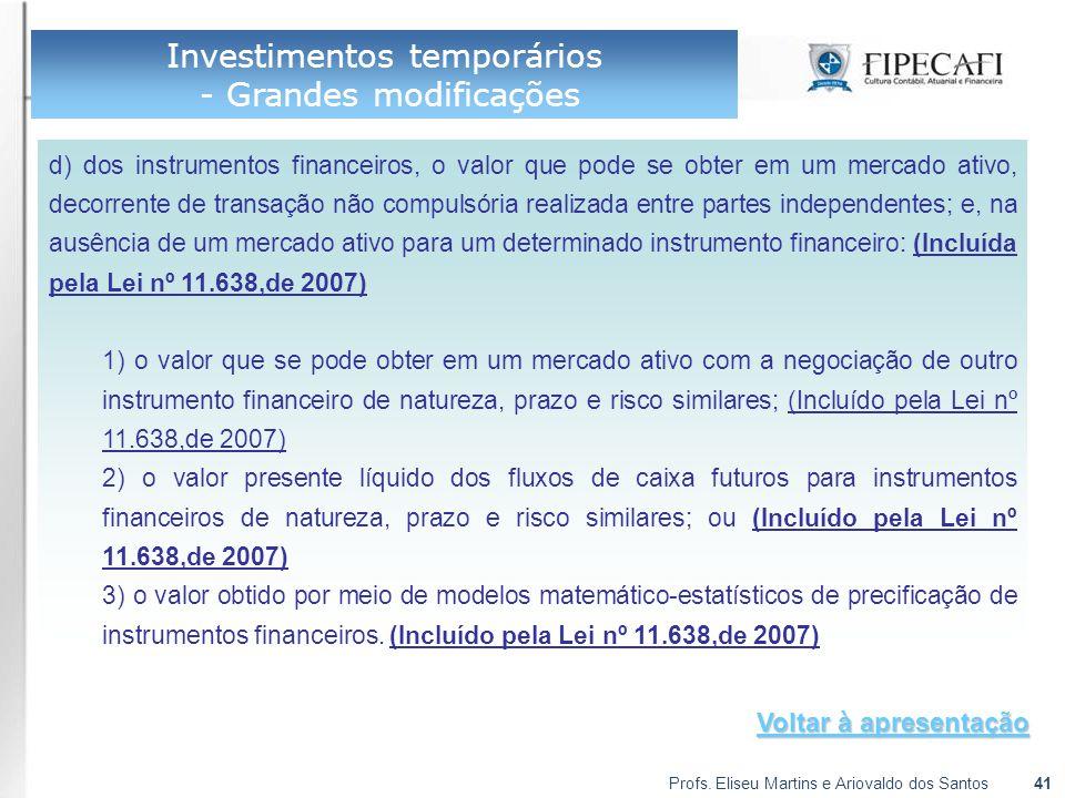 Investimentos temporários - Grandes modificações