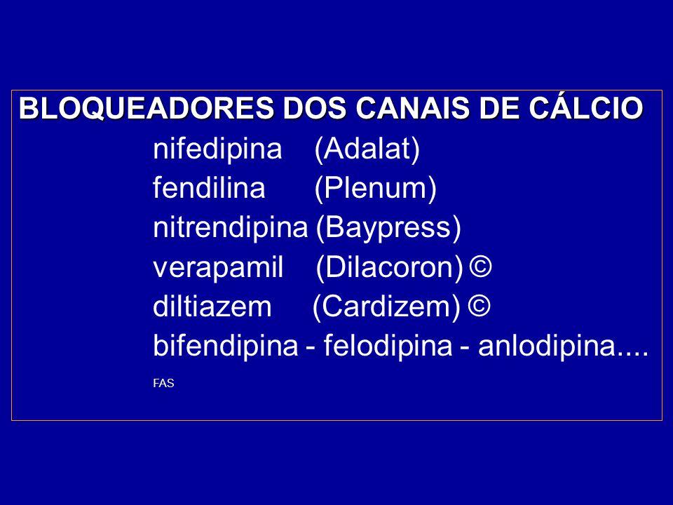 BLOQUEADORES DOS CANAIS DE CÁLCIO nifedipina (Adalat)