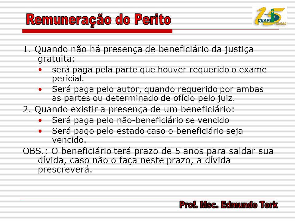 Remuneração do Perito 1. Quando não há presença de beneficiário da justiça gratuita: será paga pela parte que houver requerido o exame pericial.