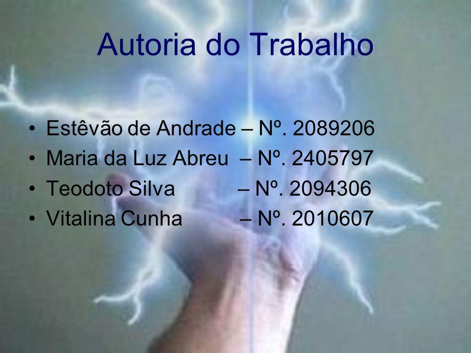 Autoria do Trabalho Estêvão de Andrade – Nº. 2089206