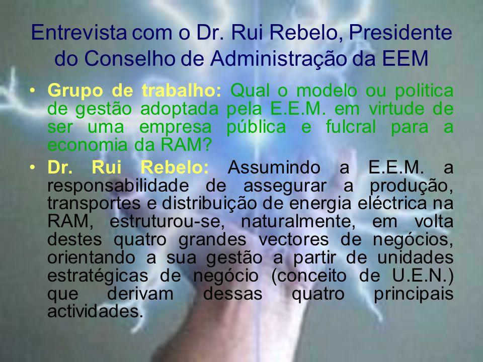 Entrevista com o Dr. Rui Rebelo, Presidente do Conselho de Administração da EEM