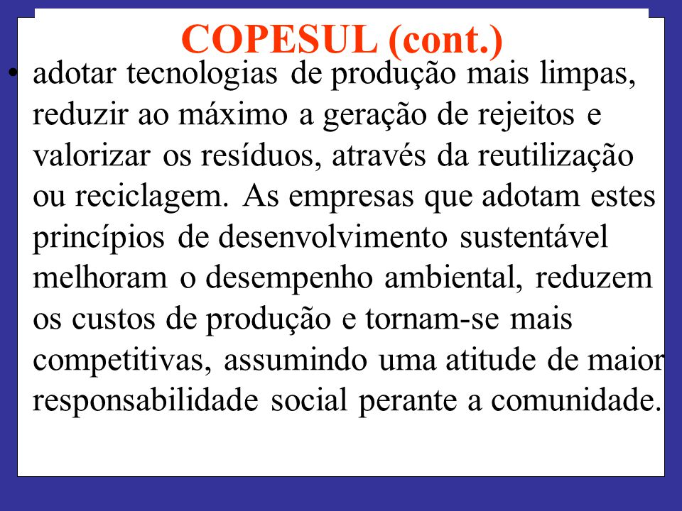 COPESUL (cont.)