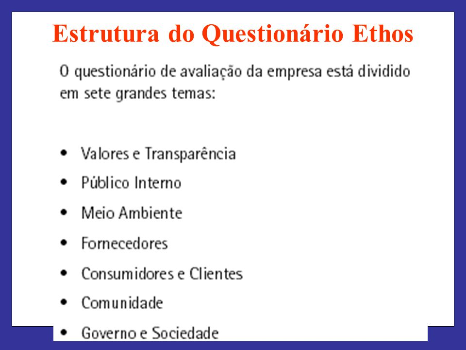 Estrutura do Questionário Ethos