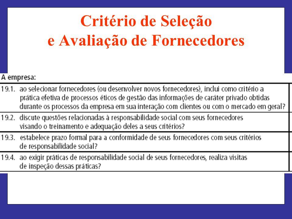Critério de Seleção e Avaliação de Fornecedores