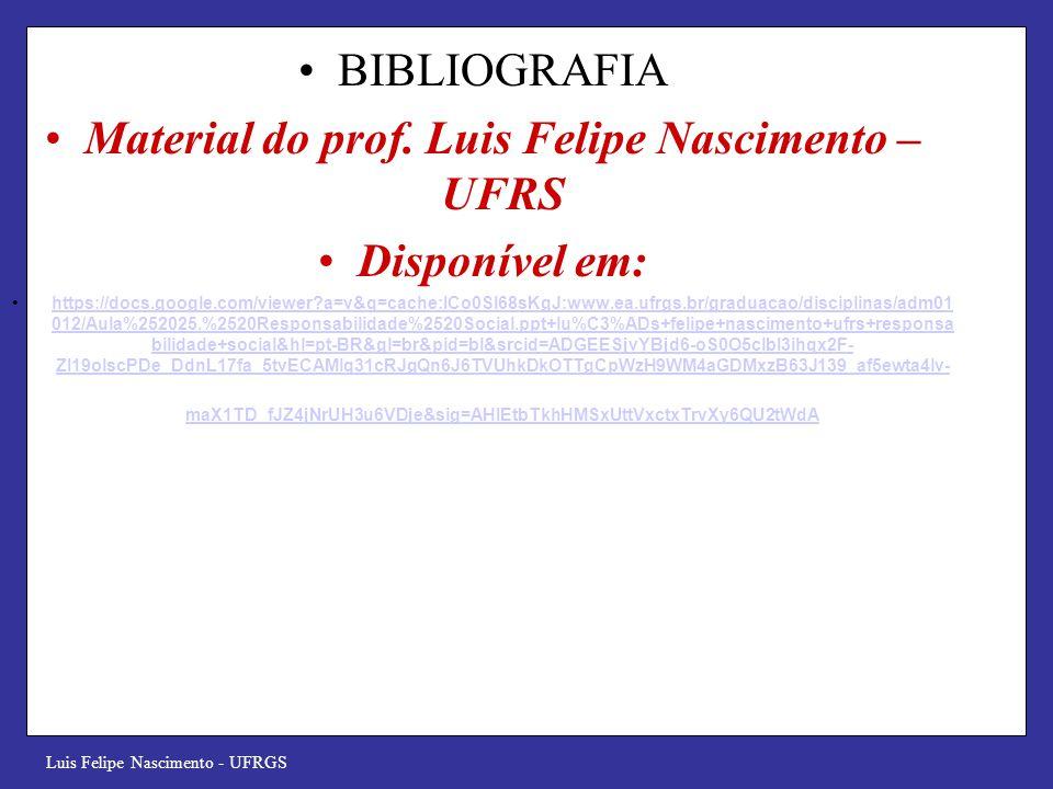 Material do prof. Luis Felipe Nascimento – UFRS