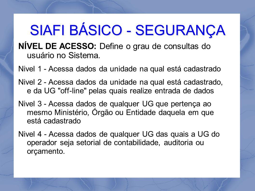SIAFI BÁSICO - SEGURANÇA