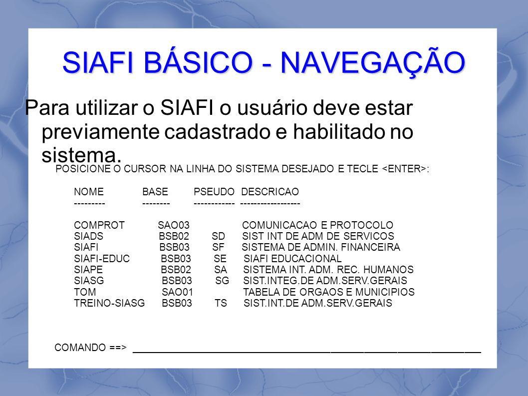 SIAFI BÁSICO - NAVEGAÇÃO