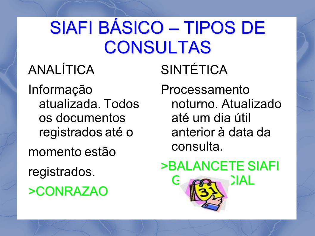 SIAFI BÁSICO – TIPOS DE CONSULTAS