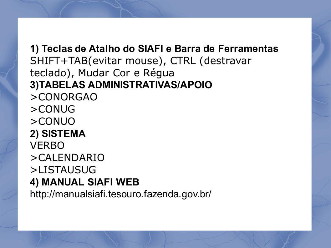 1) Teclas de Atalho do SIAFI e Barra de Ferramentas