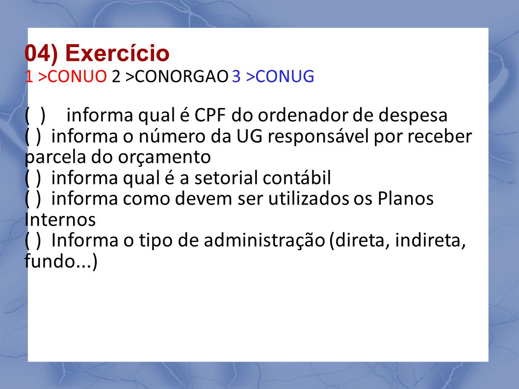 04) Exercício ( ) informa qual é CPF do ordenador de despesa