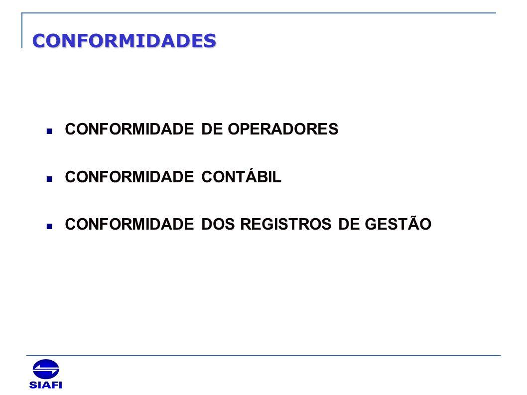 CONFORMIDADES CONFORMIDADE DE OPERADORES CONFORMIDADE CONTÁBIL
