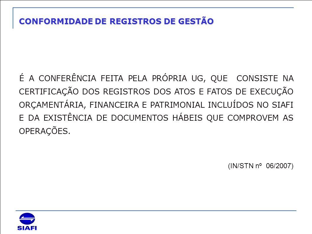 CONFORMIDADE DE REGISTROS DE GESTÃO