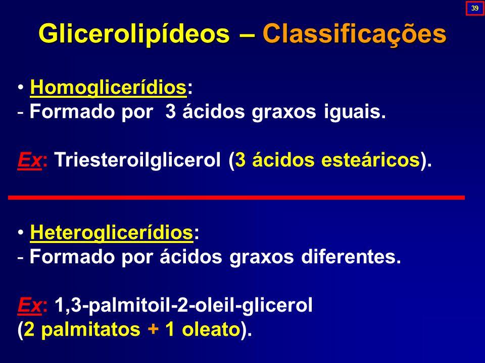 Glicerolipídeos – Classificações
