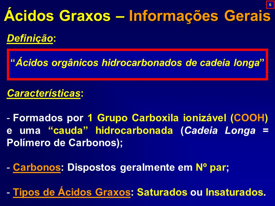 Ácidos Graxos – Informações Gerais
