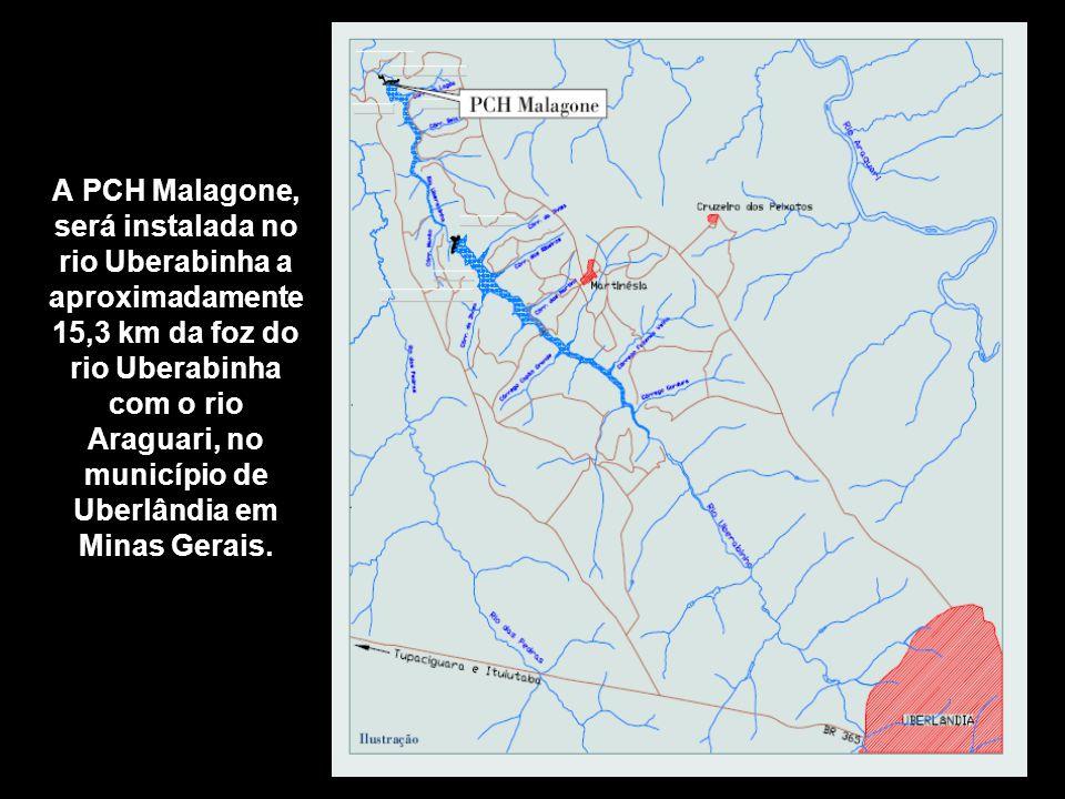 A PCH Malagone, será instalada no rio Uberabinha a aproximadamente 15,3 km da foz do rio Uberabinha com o rio Araguari, no município de Uberlândia em Minas Gerais.
