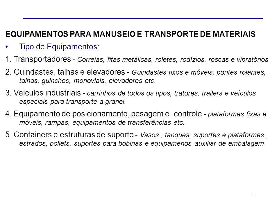 EQUIPAMENTOS PARA MANUSEIO E TRANSPORTE DE MATERIAIS