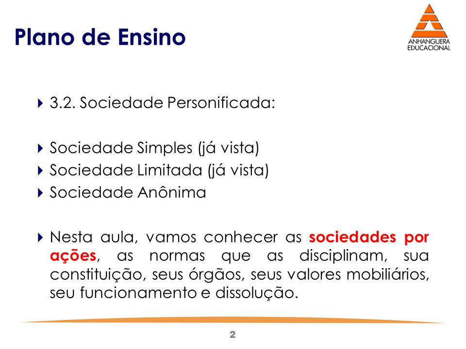 Plano de Ensino 3.2. Sociedade Personificada: