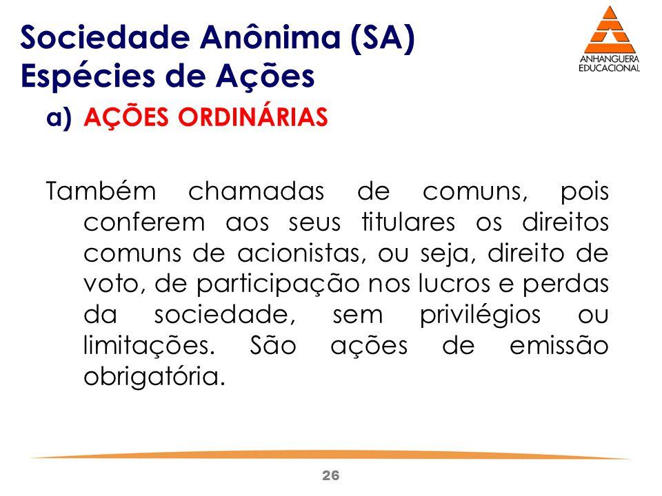 Sociedade Anônima (SA) Espécies de Ações