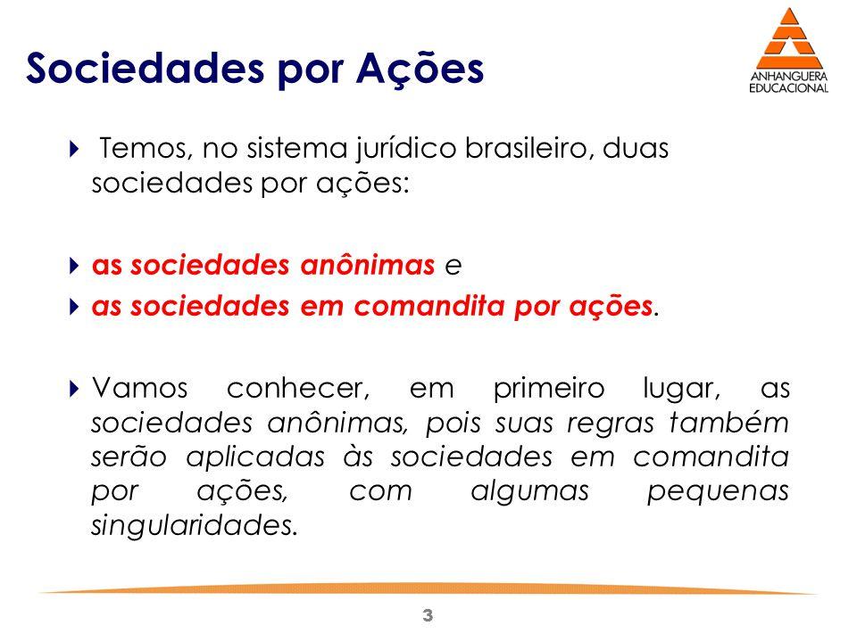 Sociedades por Ações Temos, no sistema jurídico brasileiro, duas sociedades por ações: as sociedades anônimas e.