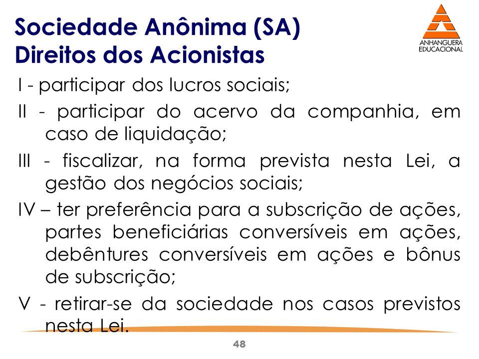 Sociedade Anônima (SA) Direitos dos Acionistas