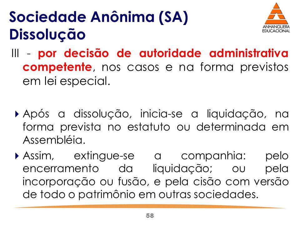 Sociedade Anônima (SA) Dissolução