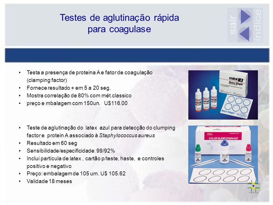 Testes de aglutinação rápida para coagulase