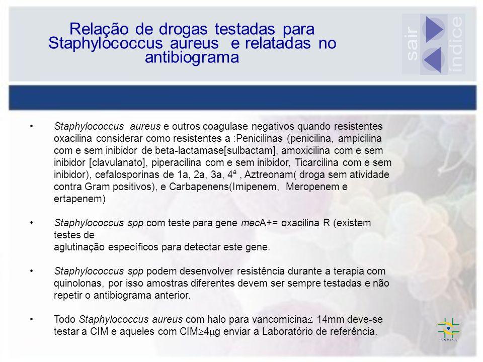 Relação de drogas testadas para Staphylococcus aureus e relatadas no antibiograma