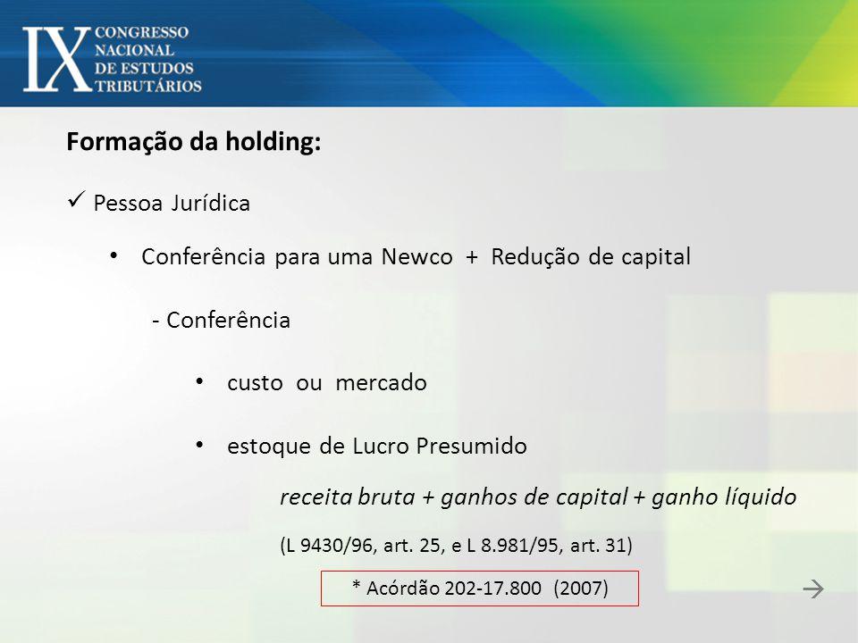 Formação da holding: Pessoa Jurídica