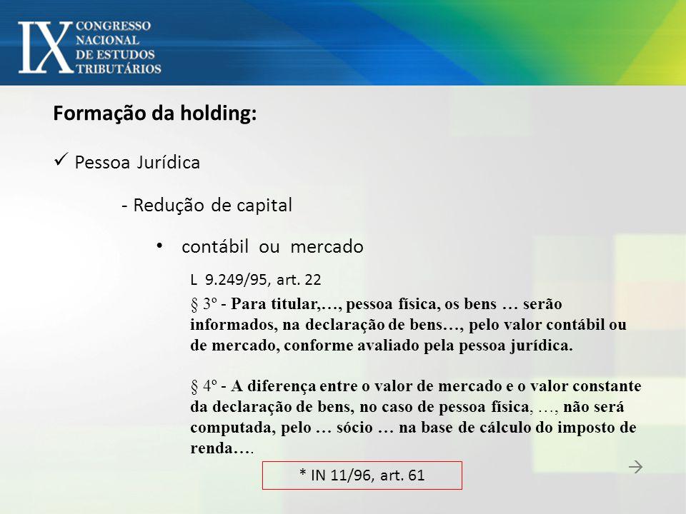 Formação da holding: Pessoa Jurídica - Redução de capital