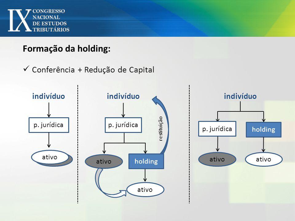 Formação da holding: Conferência + Redução de Capital indivíduo